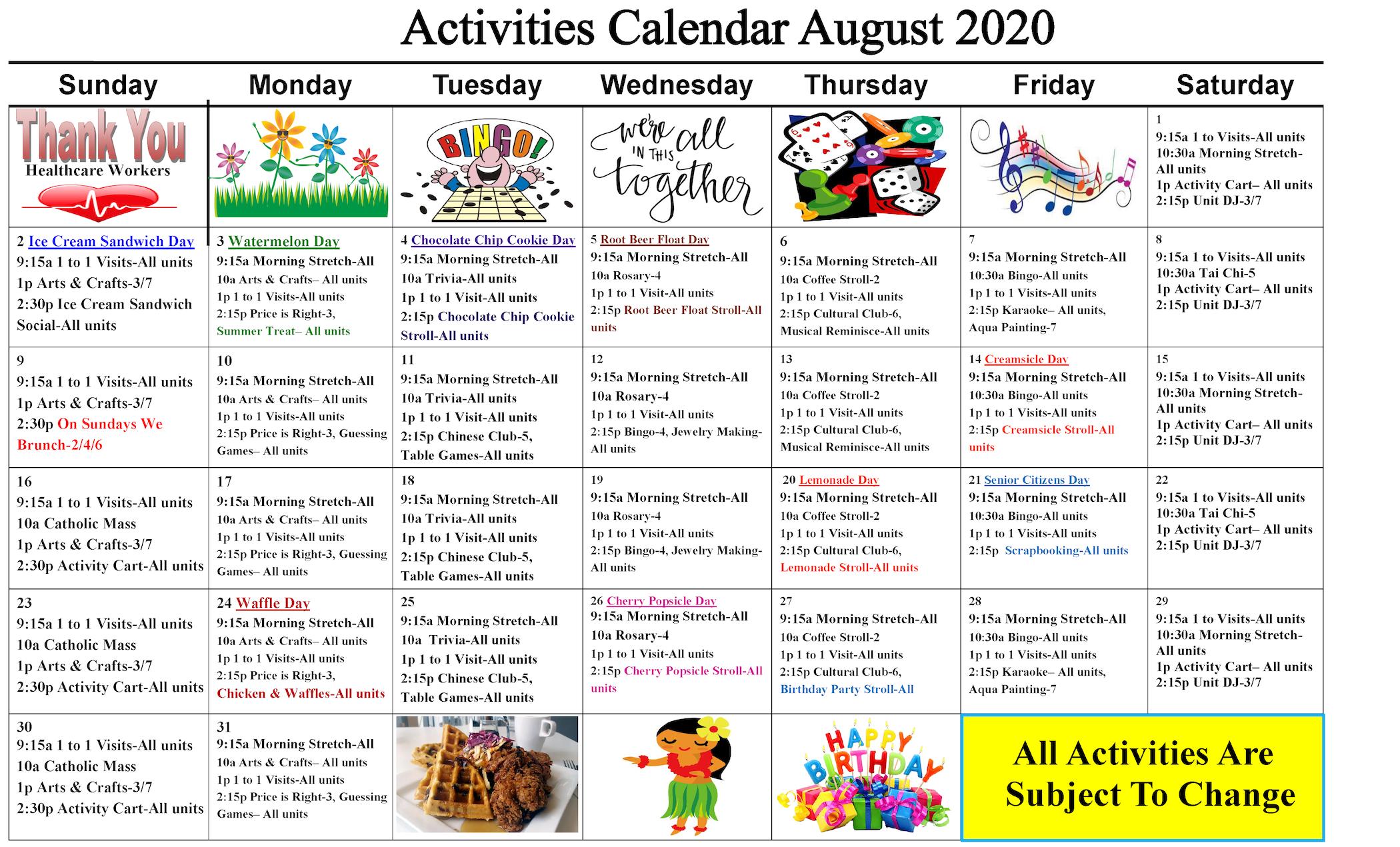 Activities Calendar for Cypress