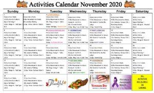 Cypress Gardens November 2020 Event Calendar