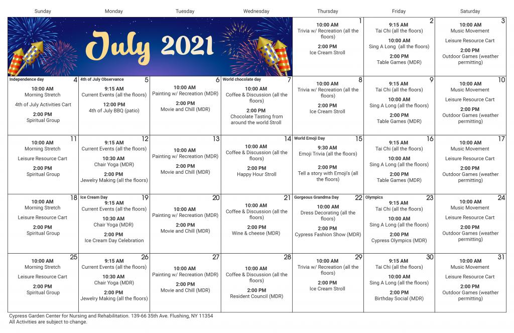 Cypress Garden Event Calendar July 2021
